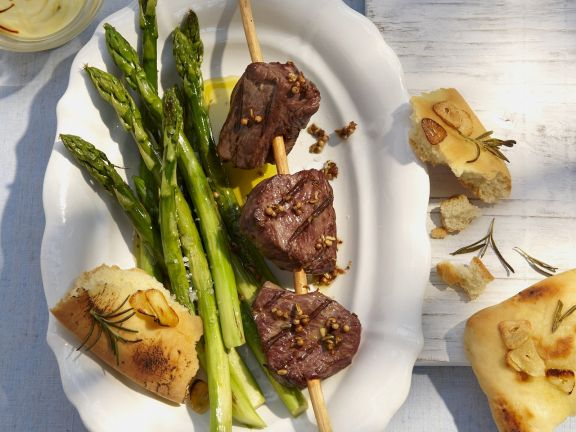 Beef Skewers with Green Veg