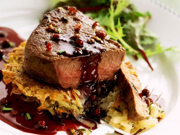 Beef Steaks with Potato Pancakes and Red Pepper Sauce