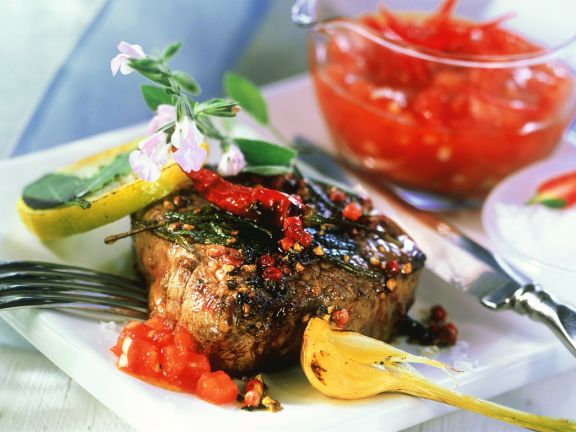 Beef Steaks with Tomato Salsa