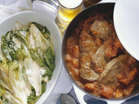 Stewed Steak with Chicory