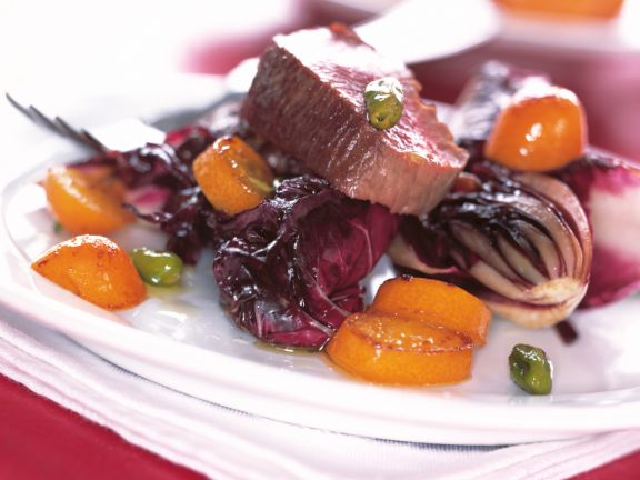 Beef with Radicchio and Kumquat