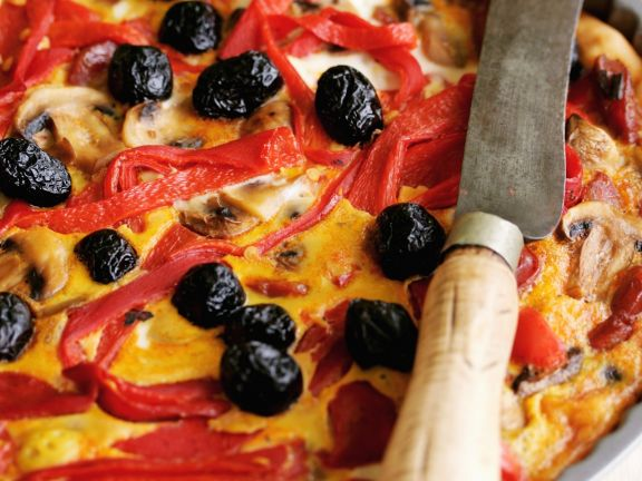 Bell Pepper and Olive Quiche