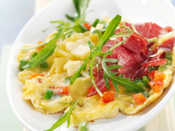Bell Pepper, Salami and Cheese Omelet with Arugula