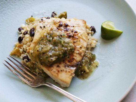 Black Bean Quinoa with Swordfish Steaks