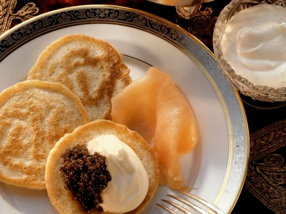 Blini with Smoked Salmon and Sour Cream