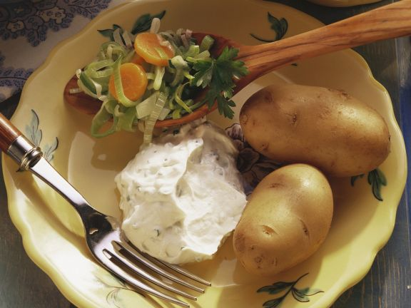 Boiled Potatoes with Leek Salad and Herbed Quark