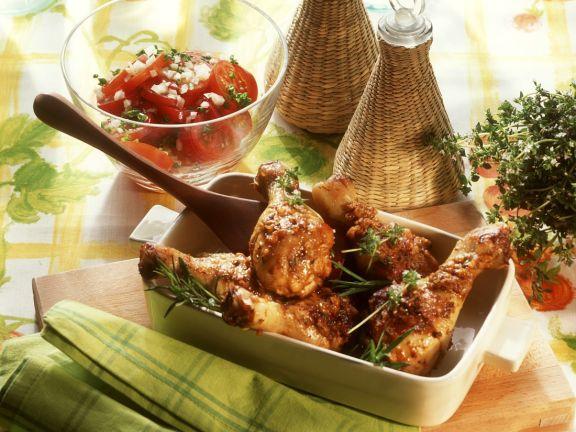 Braised chicken legs with tomato salad