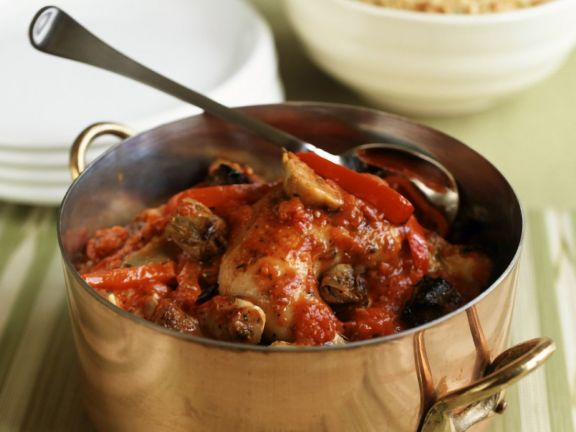 Braised Chicken, Sun-Dried Tomatoes and Mushrooms