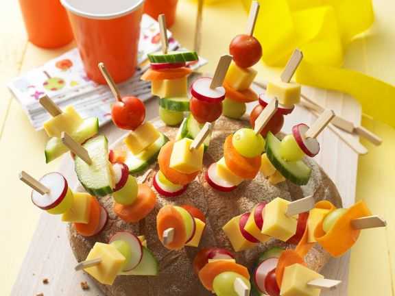 Bread, Cheese, and Vegetable Hedgehog Appetizer