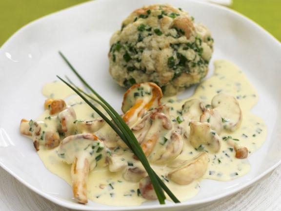 Bread Dumplings with Chanterelle Sauce