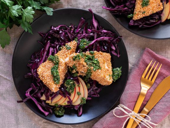 Breaded Feta with Red Cabbage and Salsa Verde