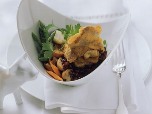 Breaded Mushrooms with Red Rice and Vegetables