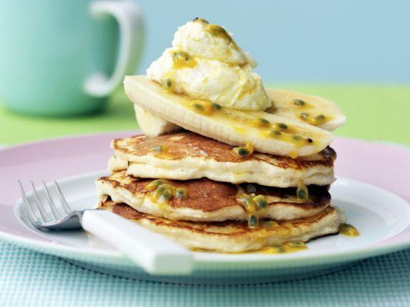 Breakfast Fruit and Pancake Stack