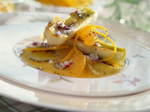 Broiled Leeks with Oranges, Poppy Seeds and Onions