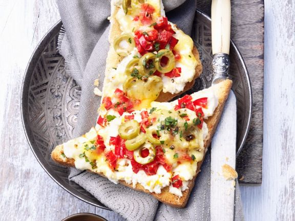 Broiled Ricotta and Pepper Toast
