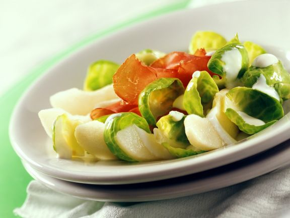 Brussels Sprouts and Pear Salad with Prosciutto