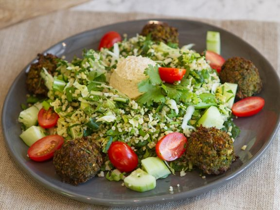 Bulgur Herb Salad with Falafel