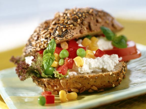 Burger with Corn and Pea Salad