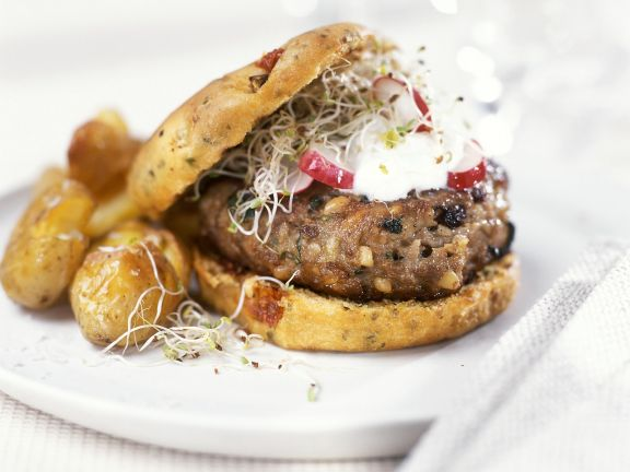 Burgers with Sprouts and Roasted Potatoes