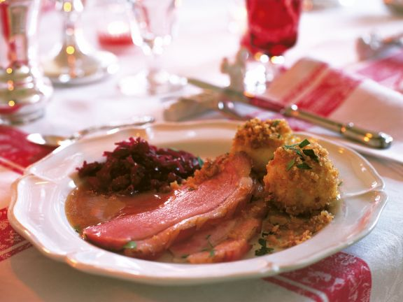 Burgundy Ham with Lingonberries and Red Cabbage