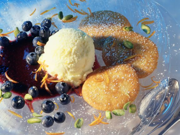 Buttermilk Pancakes with Blueberry Compote and Vanilla Ice Cream