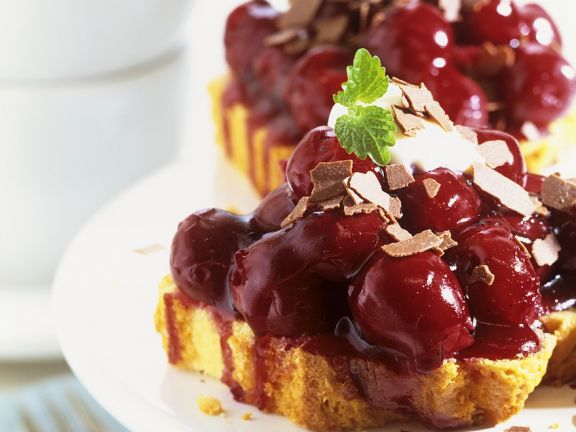 Cake Slices with Cherry Compote