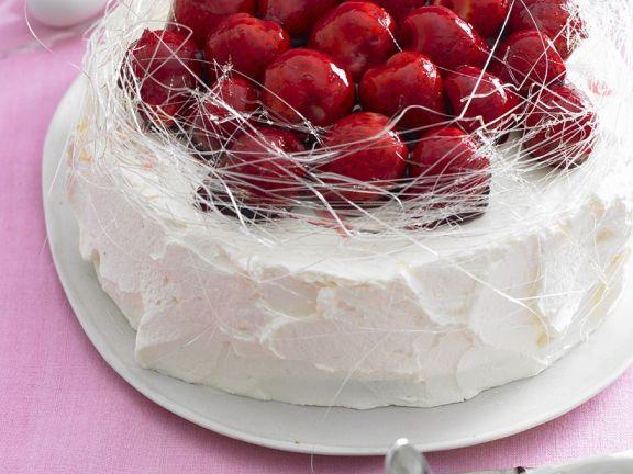 Cake with Strawberries and Spun Sugar