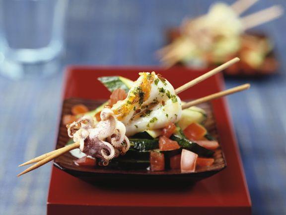 Calamari Skewers with Zucchini and Tomato