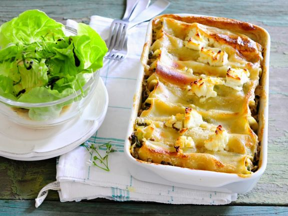 Cannelloni Stuffed with Feta and Mushrooms