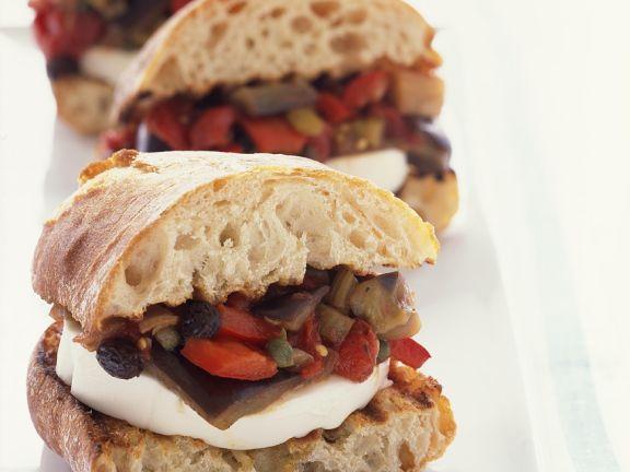 Caponata and Mozzarella Sandwiches