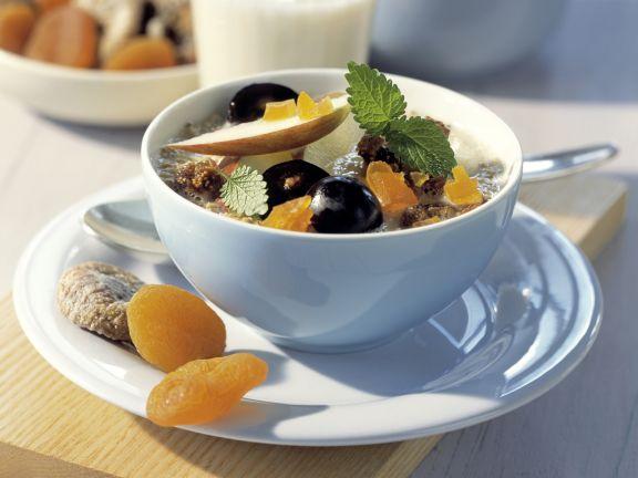 Caramelized Oat Muesli with Fruit and Lemon Balm