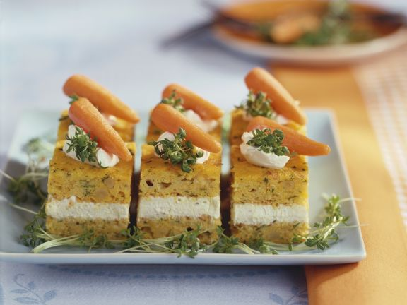Carrot and Cream Cheese Cake Slices