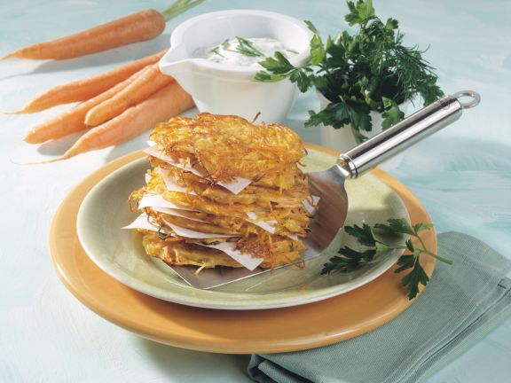 Carrot-Potato Cakes with Herb Sour Cream