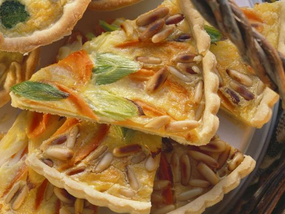 Carrot Tart with Leeks and Pine Nuts