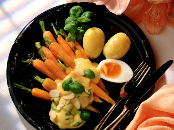 Carrots with Hollandaise Sauce and Egg Halves