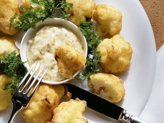 Cauliflower Tempura with Tartar Sauce
