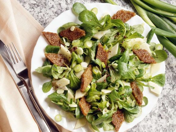 Celery Root and Mache Salad with Diamond Croutons
