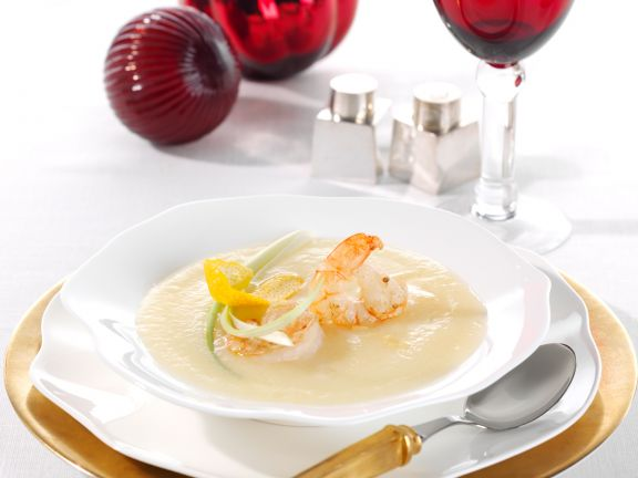 Celery Root and Orange Soup with Ginger Shrimp