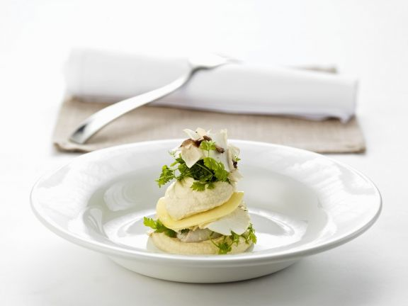 Char Tower with Celery Root and Mushrooms