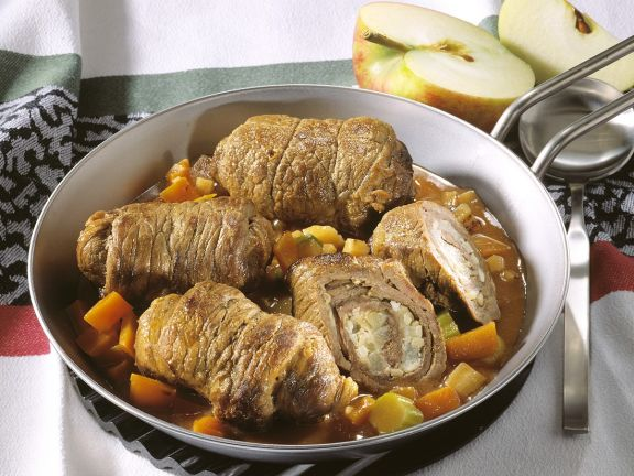 Cheese and Apple Stuffed Beef Rolls with Vegetable Stew