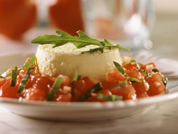 Cheese Flan with Tomato and Arugula Salad