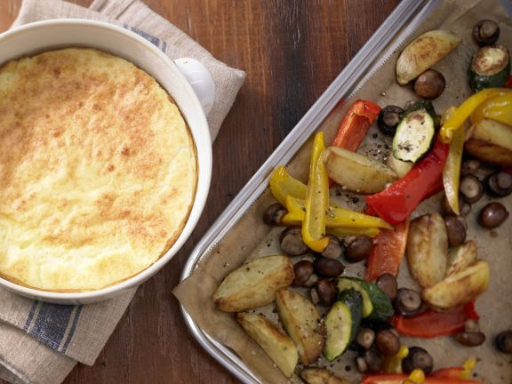Cheese Soufflé with Mixed Vegetables