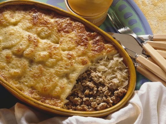 Cheesy Meat and Fermented Cabbage Bake