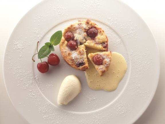 Cherry Puddings with Custard