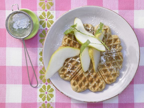 Chestnut Waffles with Pears