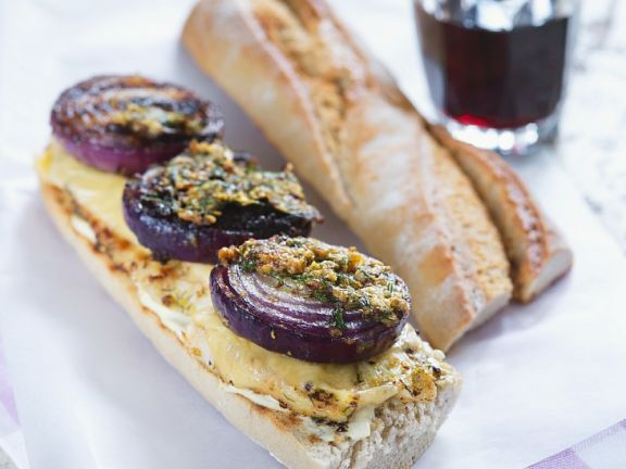 Chicken and Red Onion Open Sandwich
