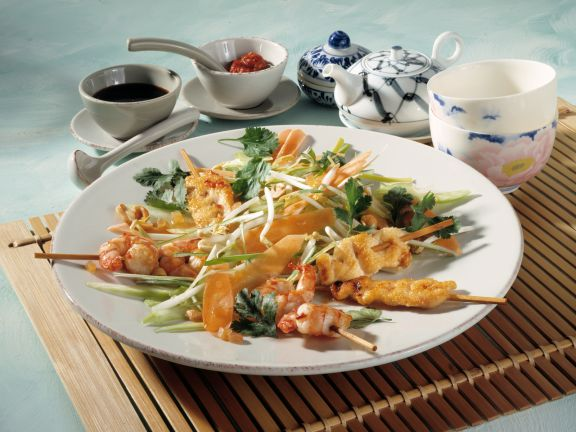 Chicken and Shrimp Satay with Vegetable Salad