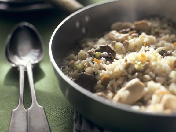 Chicken and Veal Risotto with Mushrooms