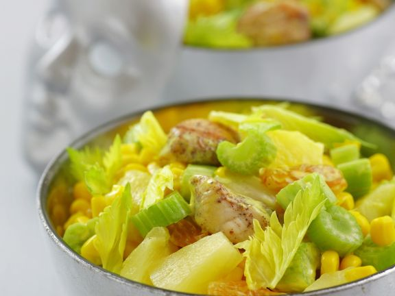 Chicken and Vegetable Salad with Grapes, Pineapple and Yellow Mayonnaise
