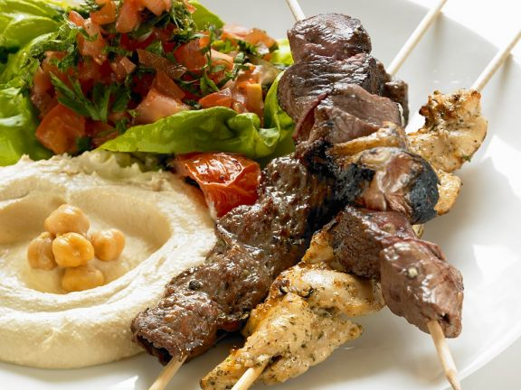 Chicken Kebabs with Hummus